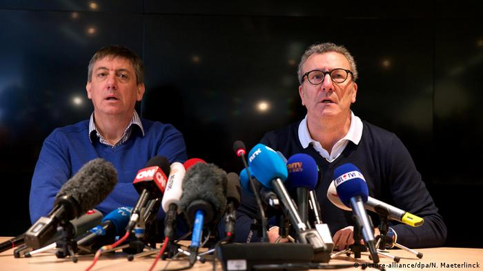 Mayeur and Jambon at a press conference