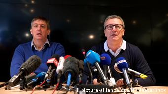 Vice-Prime Minister and Interior Minister Jan Jambon and Brussels City mayor Yvan Mayeur pictured during a press conference of the crisis center of the Belgian government regarding the attacks of March 22, 20160326, in Brussels. Belgien Brüssel Jan Jambon und Yvan Mayeur