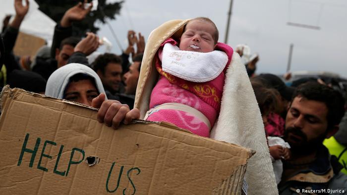 Griechenland Idomeni Grenze Mazedonien Flüchtlinge Baby