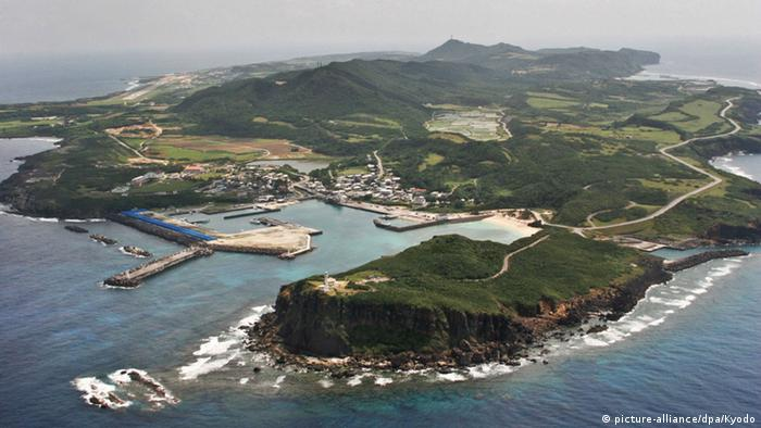 An aerial view shows Yonaguni island