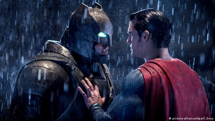 Batman and Superman in a film still