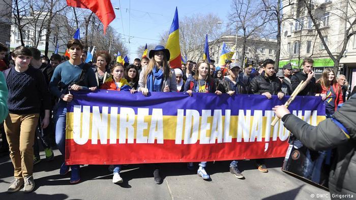 Republik Moldau Demonstration für die Wiedervereinigung der Republik Moldau mit Rumänien