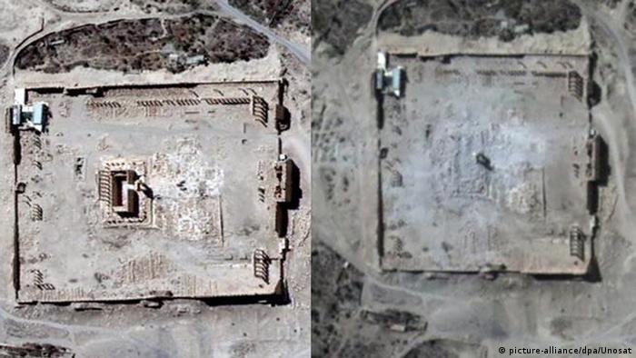 Luftaufnahme des Baaltempels, Foto: dpa/UNOSAT