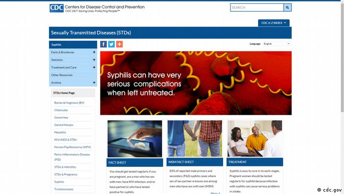 Screenshot Centers for Disease Control and Prevention - Syphilis