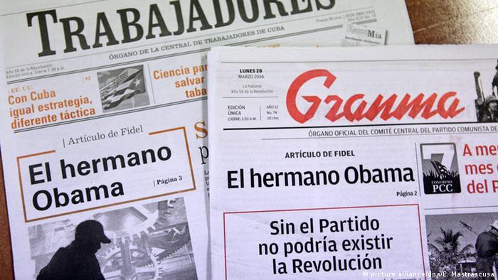 Granma y Trabajadores, órganos oficiales del Partido Comunista y la oficialista Central de Trabajadores de Cuba, respectivamente.