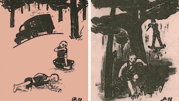 Bildkombo Ausstellung Geraubte Kinder Zeichner der Kinder aus dem Kinderheim Sokolniki