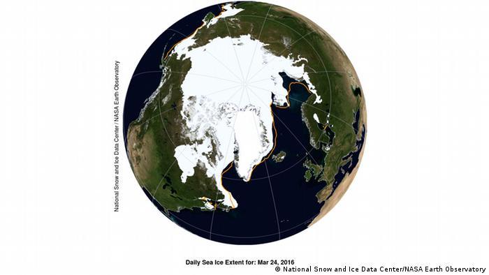 Em 24 de março, a extensão da camada de gelo no mar era de 14,52 milhões de quilômetros quadrados