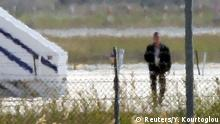 29.03.2016 A man thought to be the hijacker leaves the hijacked Egyptair Airbus A320 at Larnaca Airport in Larnaca, Cyprus, March 29, 2016 REUTERS/Yiannis Kourtoglou Copyright: Reuters/Y. Kourtoglou