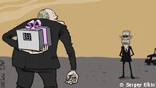 Karikatur Verhandlungen zwischen Russland und den USA über Nadja Sawschenko