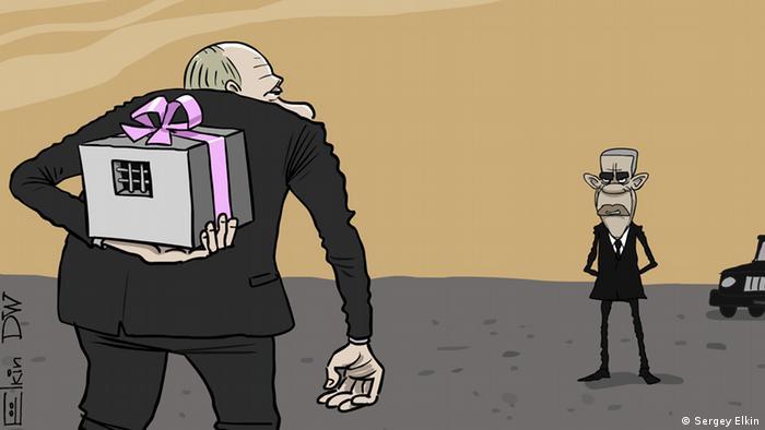 Карикатура Сергея Елкина на сообщения о возможности обмена украинской военнослужащей Надежды Савченко на отбывающего срок в США торговца оружием Виктора Бута.