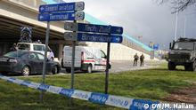 29.3.2016 *** Police and military patrol the road approaching Brussels International Airport in Zavantem, Tuesday March 29, 2016. The airport began test-runs on the Tuesday, with a view to a partial reopening on Wednesday. Copyright: DW/M. Hallam