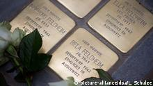 29.03.2016 *** Weiße Rosen liegen am 29.03.2016 im Valentinskamp in Hamburg auf den Stolpersteinen, die an die ermordete jüdische Familie Feldheim erinnern. Der Stolperstein, der an das jüdischen Baby Bela Feldheim erinnert, war der 5000. Stein des Künstlers Demnig. Foto: Lukas Schulze/dpa (zu dpa «5000. Stolperstein zum Gedenken an NS-Opfer in Hamburg gesetzt» vom 29.03.2016) +++(c) dpa - Bildfunk+++ Copyright: picture-alliance/dpa/L. Schulze