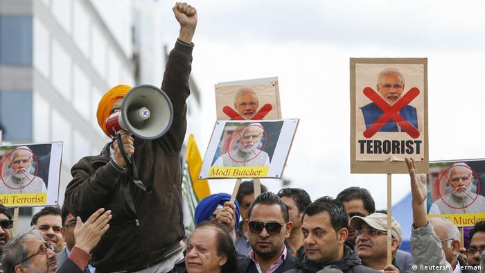 Belgien Brüssel nach Anschlag - Besuch Narendra Modi - Protest