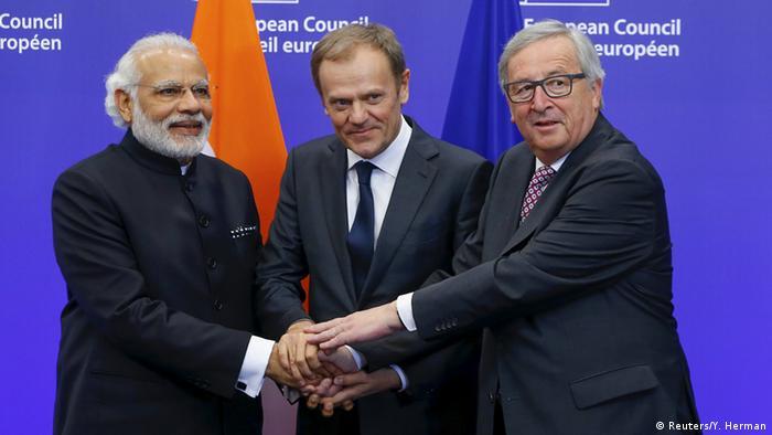 Narendra Modi,Donald Tusk & Jean-Claude Juncker in Brussels