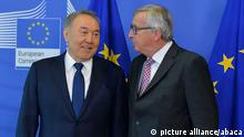 30.3.2016 BRUSSELS, BELGIUM - MARCH 30: President of the European Commission, Jean-Claude Junker (R) and Kazakhstan President Nursultan Nazarbayev (L) pose for a picture prior to their meeting in Brussels, Belgium on March 30, 2016. Dursun Aydemir / Anadolu Agency picture alliance/abaca