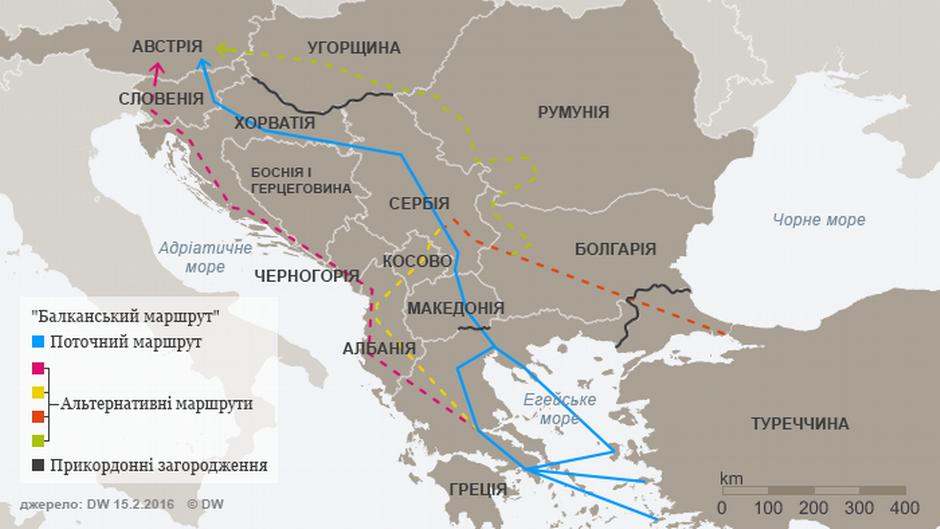 Infografik Balkanroute und die Alternative Routen Ukrainisch
