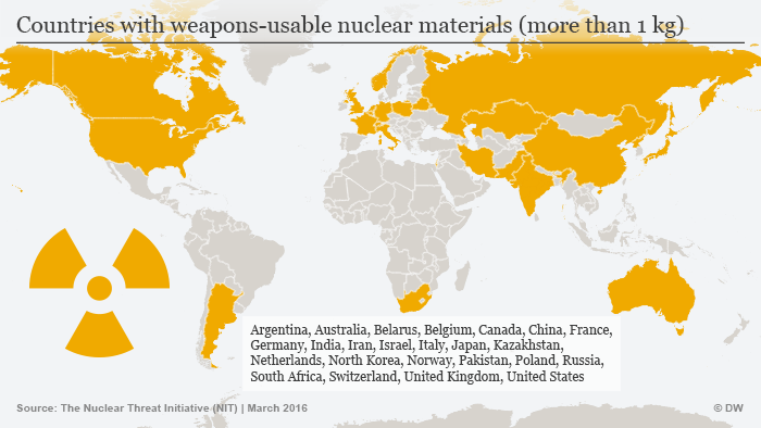 map of countries in possession of weapons-grade nuclear material