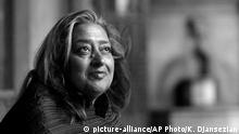 March 21, 2004 FILE- In this March 21, 2004 file picture, Iraqi-British architect Zaha Hadid poses in West Hollywood, Calif. Hadid, whose modernist, futuristic designs included the swooping aquatic center for the 2012 London Olympics, has died aged 65, Thursday, March 31, 2016. (AP Photo/Kevork Djansezian, File) (c) picture-alliance/AP Photo/K. Djansezian