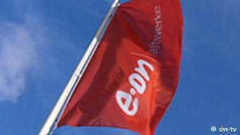 Red flag with EON written in white
