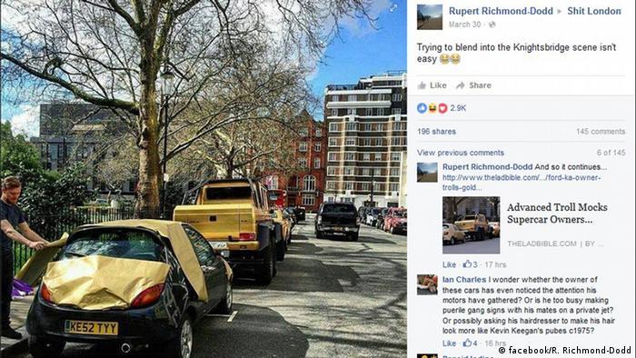 Facebook Screenshot Londoner machen sich lustig über Saudi-Milliardär