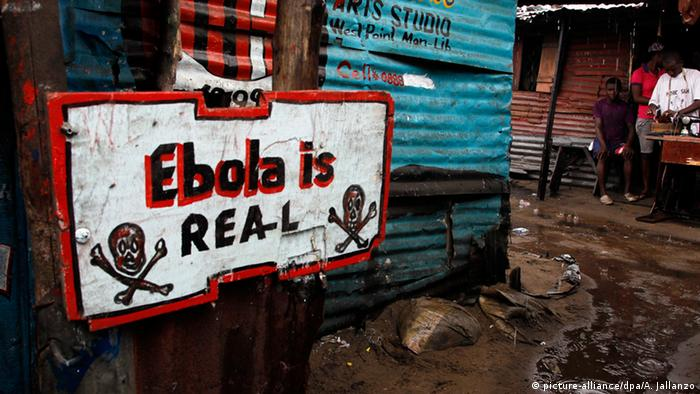 A sign in Liberia written Ebola is real