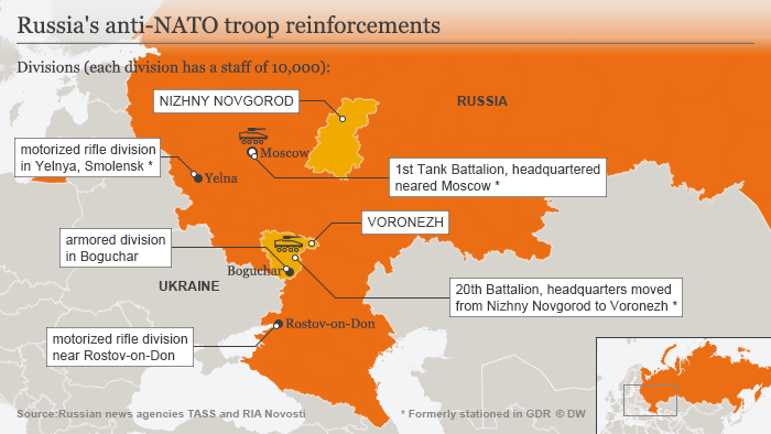 A map showing Russia's anti-NATO military installations