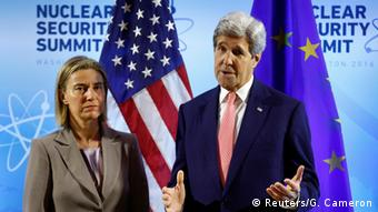 U.S. Secretary of State Kerry meets with EU High Representative Mogherini at the Nuclear Summit in Washington