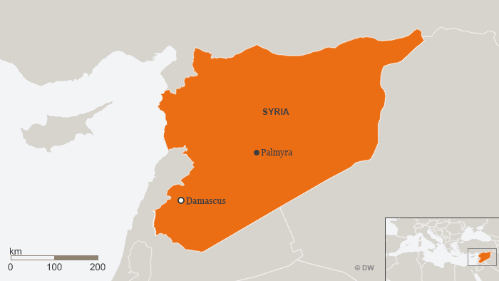 Map showing Palmyra in Syria
