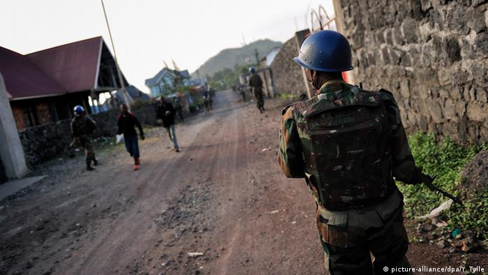 A UN peacekeeper in the DRC