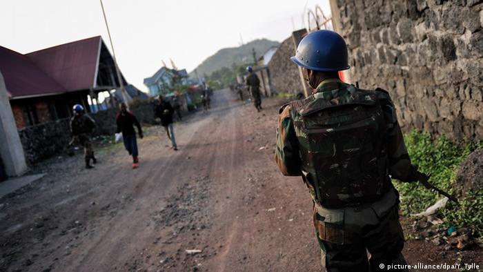 A UN peacekeeper in the DRC