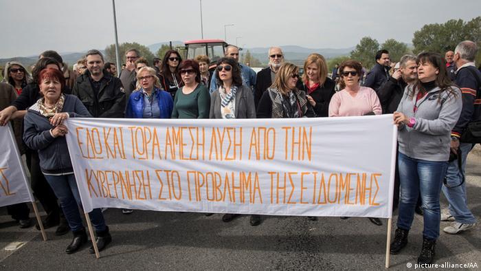Demonstration gegen Migranten in Idomeni