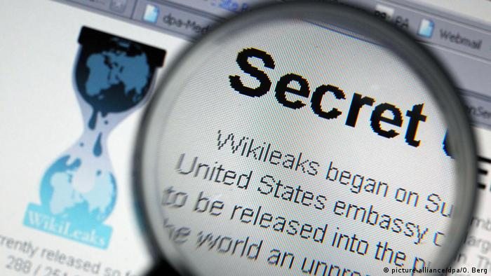 WikiLeaks' logo and a magnifying glass over the word secret