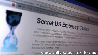 Сайт Wikileaks с публикацией дипломатической переписки США