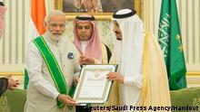 Saudischer König Salman ehrt Indischen Premierminister Narendra Modi