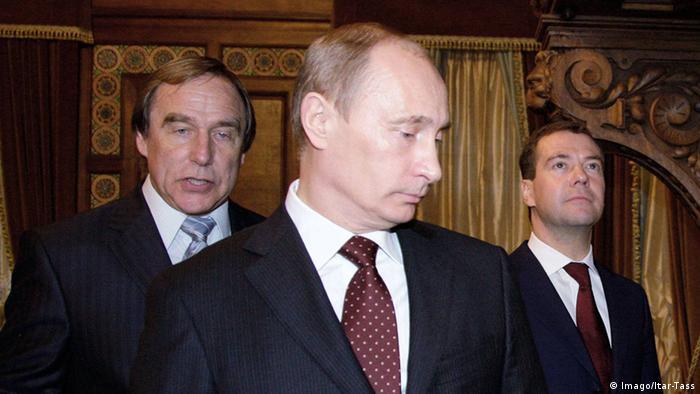 Russland Sergej Roldugin mit Wladimir Putin und Dmitri Medwedew