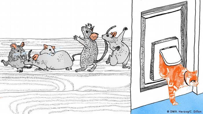 Illustration Sprichwort Ist die Katze aus dem Haus, tanzen die Mäuse auf dem Tisch
