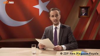 Screenshot showing Jan Böhmermann during his recitation of a smear poem aimed at Turkish President Recep Tayyip Erdogan, which is now the subject of litigation. The program aired on March 31, 2016 on ZDF Neo, the poem was later removed from the online archive version of the show.