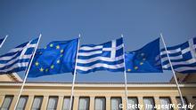Flaggen Griechenland Europäische Union Athen