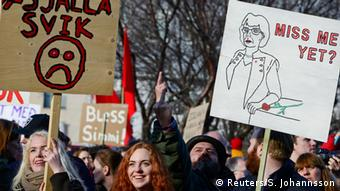 People demonstrate against Iceland's Prime Minister Sigmundur Gunnlaugsson in Reykjavik on April 4