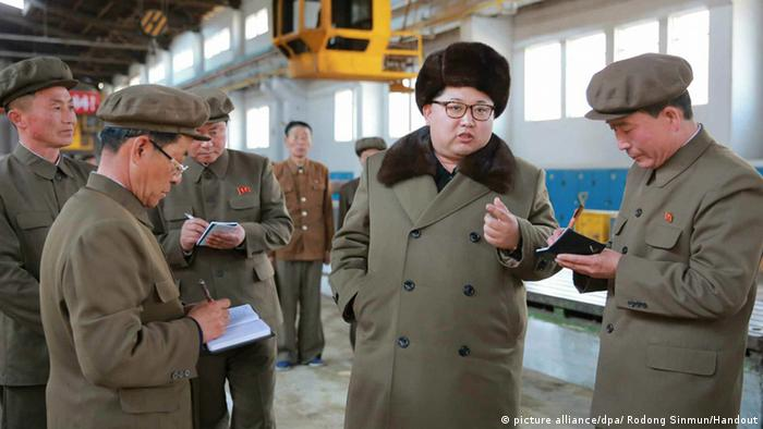 North Korean leader Kim Jong-un at a machinery plant