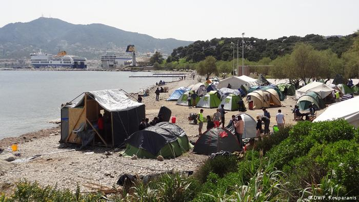 A picture of a refugee camp in Mytilene on the island of Lesbos
