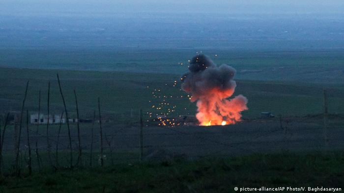 A picture of an explosion caused by a Bayraktar TB2 military drone