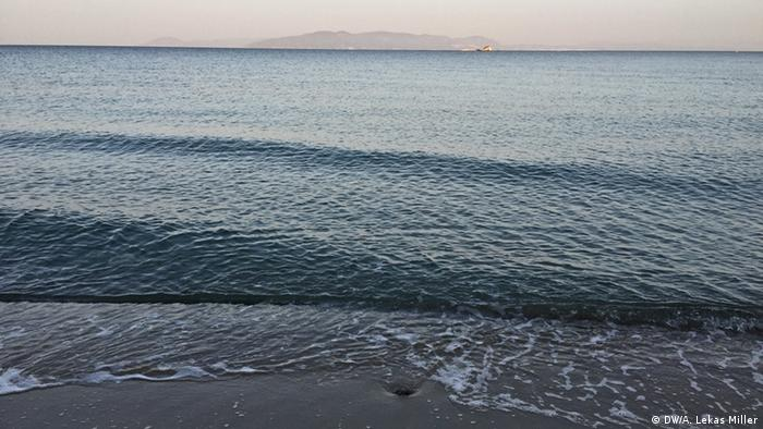 Denizköy Beach in Turkey with the Greek island of Lesbos in the distance