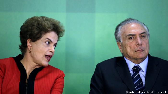 President Dilma Rousseff next to Vice President Michel Temer