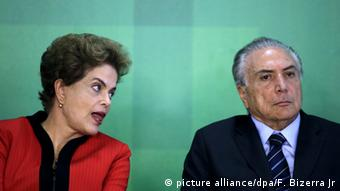 If looks could kill. Brazilian President Dilma Rousseff (L) and Brazilian Vice President Michel Temer (R)