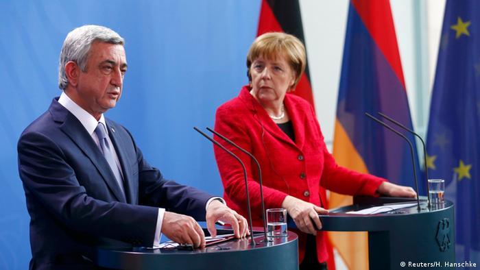 Armeniens Präsident Sersch Sargsjan bei Kanzlerin Angela Merkel in Berlin (Foto: Reuters)
