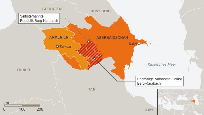 Karte Aserbaidschan Armenien Berg-Karabach Deutsch