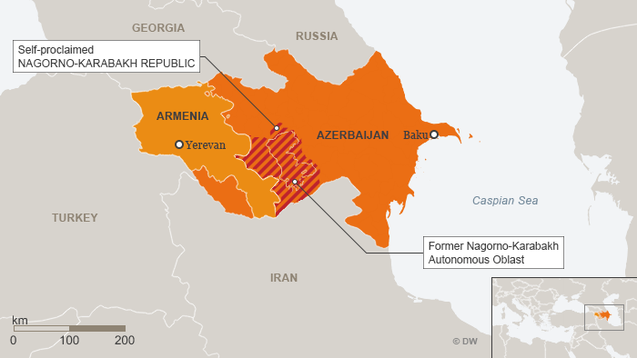Karte Aserbaidschan Armenien Berg-Karabach Englisch