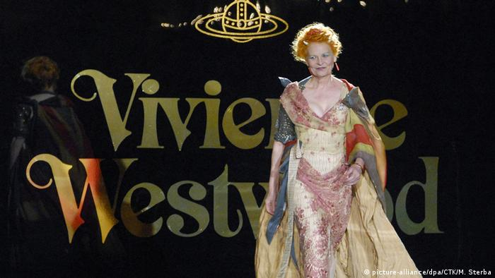 Designer Vivienne Westwood on the catwalk in Prague