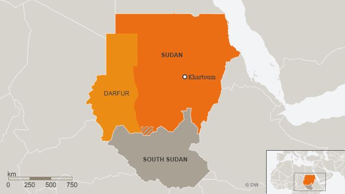 Karte Sudan Darfur Südsudan Englisch